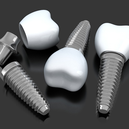 Three animated dental implant supported dental crowns